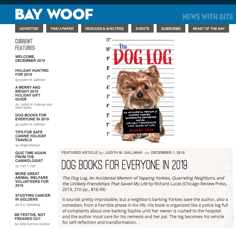 Richard Lucas' The Dog Log featured in Bay Woof Magazine's list of Dog Books for Everyone in 2019!