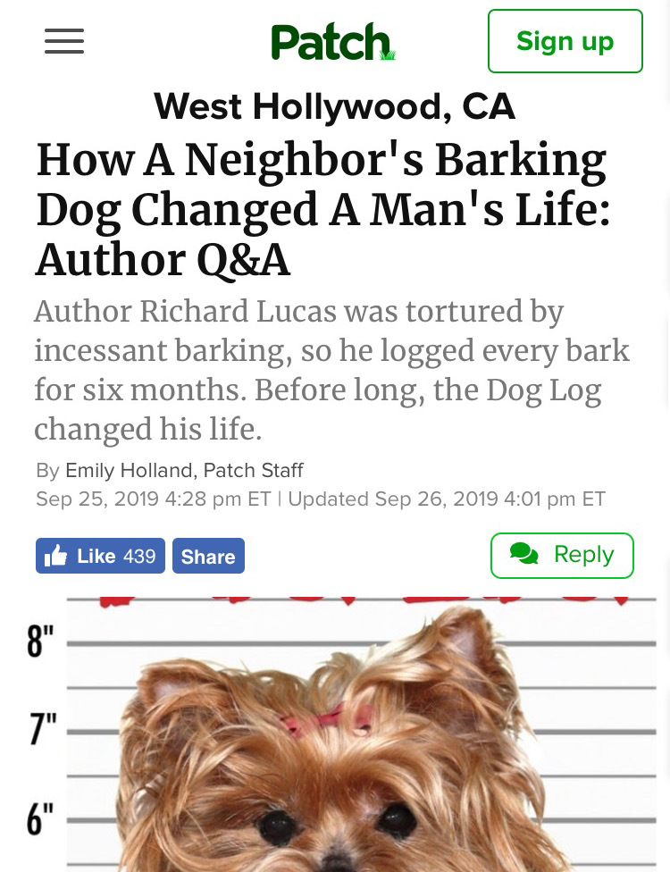 Richard Lucas, author of The Dog Log, interviewed at Patch.com